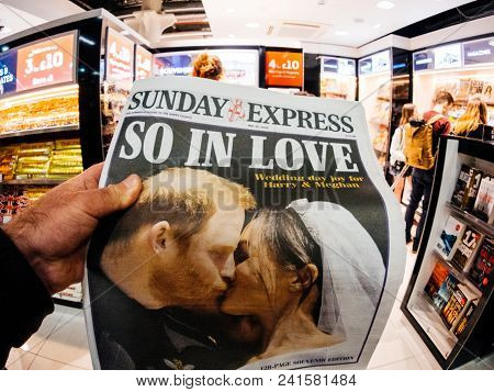London, England - May 20, 2018: Pov Sunday Express Front Cover Newspaper In British Press Kiosk Feat