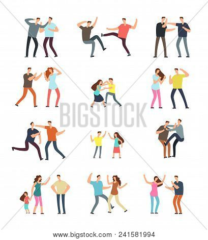 School Boys Fighting, Aggressive Kids Pushing And Kicking Each Other Cartoon Vector Characters Isola