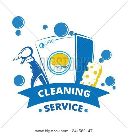 Cleaning Service Label Design. Yellow And Blue Laundry Logo. Laundry Label And Washer Equipment, Spo