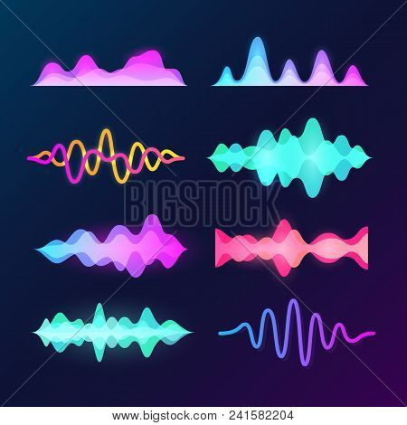 Bright Color Sound Voice Waves Isolated On Background. Abstract Waveform, Music Pulse And Equalizer