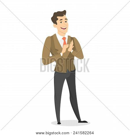 Man Clapping And Standing On White Backgroud.
