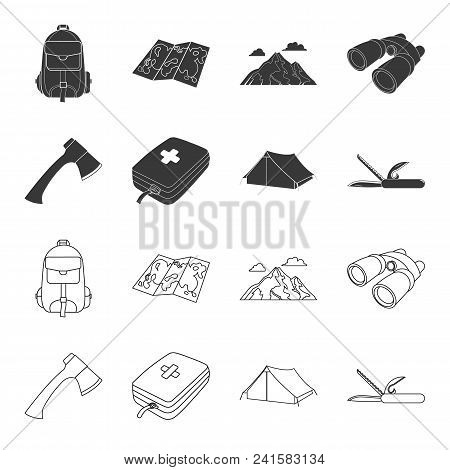 Ax, First-aid Kit, Tourist Tent, Folding Knife. Camping Set Collection Icons In Black, Outline Style