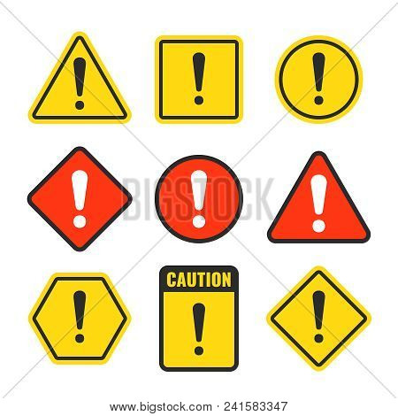 Exclamation Mark Beware Icons. Attention And Caution Signs. Hazard Warning Vector Symbol Isolated. I
