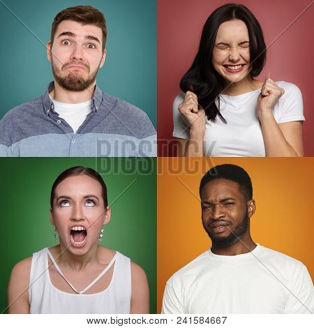 Collage of different grimacing men and women expressing disgust, feeling boredom, on colorful studio backgrounds. poster