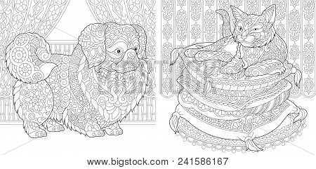 Coloring Pages. Cat On Pillows. Pekingese Or Japanese Chin Dog. Adult Coloring Book Idea. Antistress