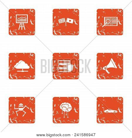 Mentality Icons Set. Grunge Set Of 9 Mentality Vector Icons For Web Isolated On White Background