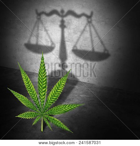 Legal Marijuana Law Concept As A Cannabis Leaf Casting A Shadow Of A Justice Scale As A Medicinal Or