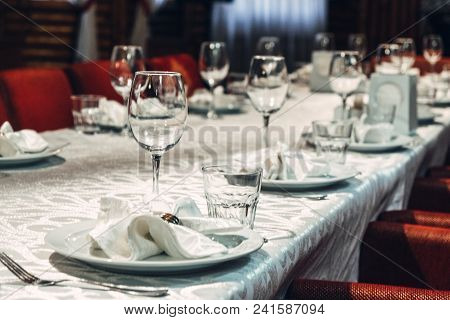 Table Set For Wedding Or Another Catered Event Dinner. Table Set For Wedding Or Another Catered Even