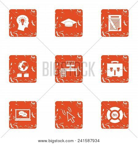 Working Fluid Icons Set. Grunge Set Of 9 Working Fluid Vector Icons For Web Isolated On White Backgr