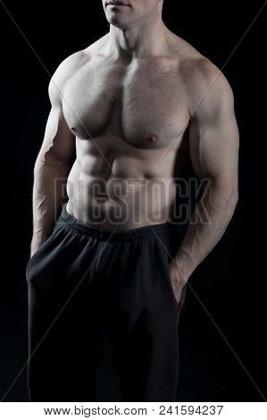 Torso With Six Pack And Ab Muscles. Torso With Fit Belly And Athletic Chest.