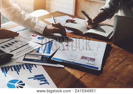 Business Consulting Or Finance Budget Plan , Business Man Consult Using Pen Point Method To Profit T