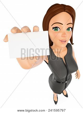 3d Business People Illustration. Businesswoman With A Blank Card. Isolated White Background.