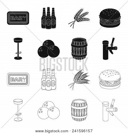 Restaurant, Cafe, Chair, Bowling Ball .pub Set Collection Icons In Black, Outline Style Vector Symbo