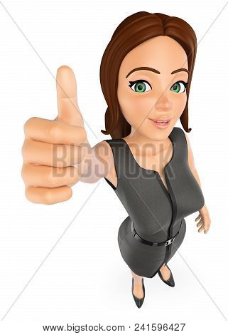 3d Business People Illustration. Businesswoman With Thumb Up. Success. Isolated White Background.