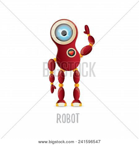 Vector Funny Cartoon Red Friendly Robot Character Isolated On White Background. Kids 3d Robot Toy Lo
