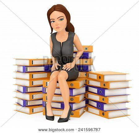 3d Business People Illustration. Businesswoman Sitting On Top Of Many Ring Binders. Work Overload. I