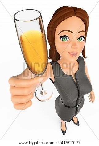 3d Business People Illustration. Businesswoman Toasting With A Glass Of Champagne. Isolated White Ba