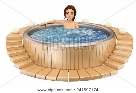 3d Young People Illustration. Woman Taking A Relaxing Bath In A Jacuzzi. Isolated White Background.