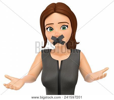3d Business People Illustration.  Businesswoman With Mouth Covered By Crossed Tape. Isolated White B
