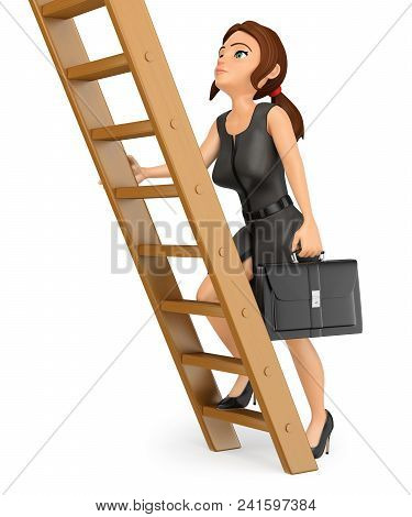 3d Business People Illustration. Business Woman Climbing Up A Wooden Ladder. Job Promotion. Isolated