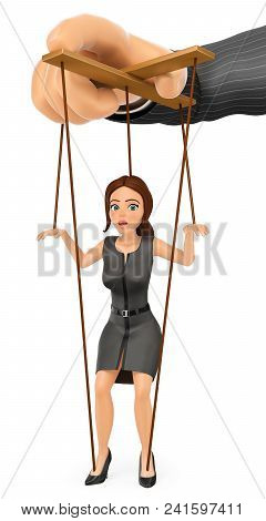 3d Business People Illustration. Businesswoman Being Handled Like Marionette By Her Boss. Isolated W
