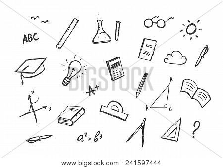 Vector Hand Drawn Set Of Doddles Supplies On White Background