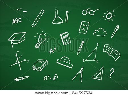 Vector Hand Drawn Set Of Doddles Supplies On Chalkboard Background