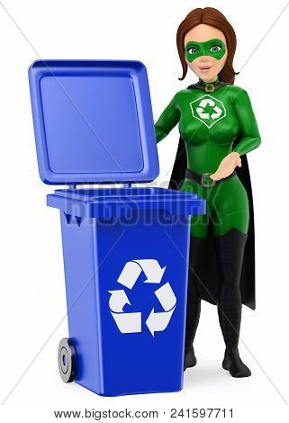 3d Environment People Illustration. Woman Superhero Of Recycling Standing With A Blue Bin For Recycl