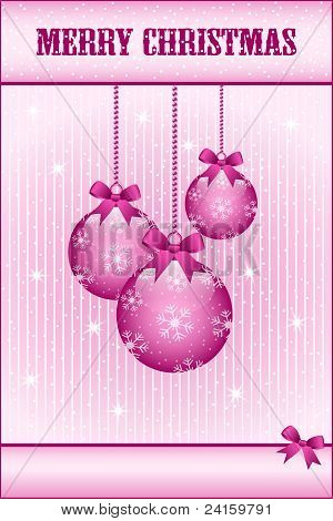Rose Pink Christmas Balls And Bows