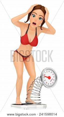 3d Young People Illustration. Woman In Bikini Weighing Herself On A Scale. Overweight. Isolated Whit