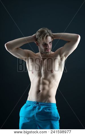 Sportsman With Sexy Torso And Chest. Athlete With Fit Body In Shorts. Man With Six Pack And Ab Muscl