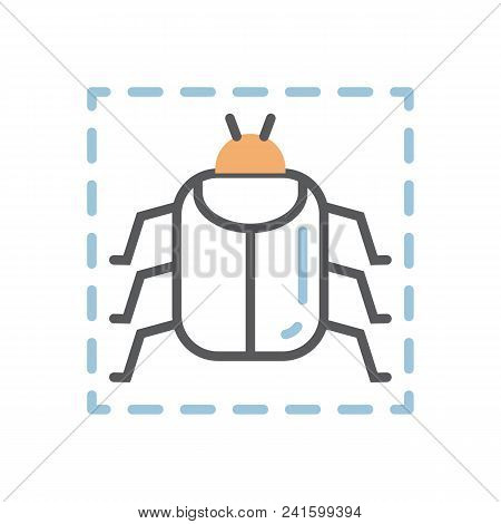 Virus Bug Icon Over White.attention Sign.computer Bug Vector Illustration.web Virus Line Concept.sof