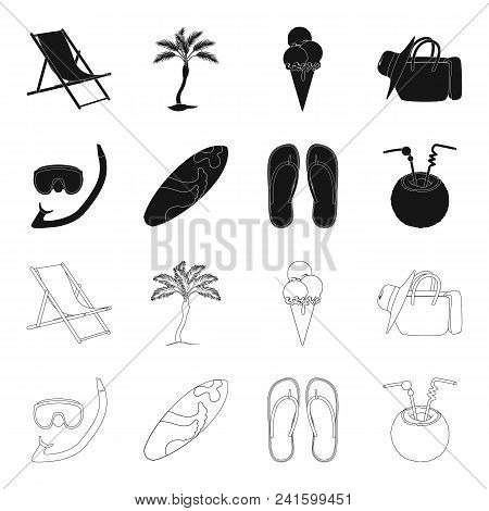 Diving, Surfing, Cocktail.summer Vacation Set Collection Icons In Black, Outline Style Vector Symbol