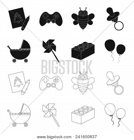 Stroller, Windmill, Lego, Balloons.toys Set Collection Icons In Black, Outline Style Vector Symbol S