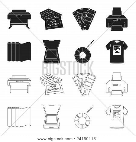 Scanner, Color Palette And Other Equipment. Typography Set Collection Icons In Black, Outline Style