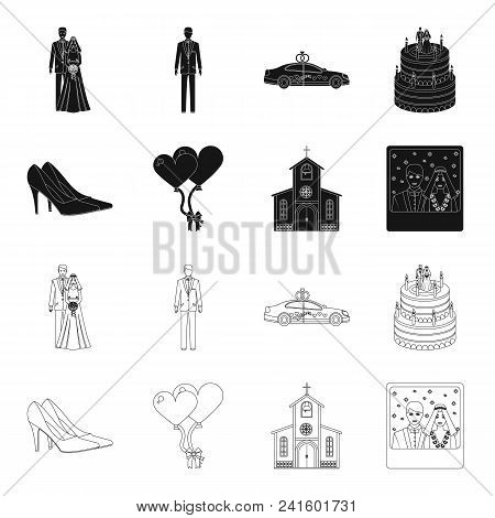 Wedding And Attributes Black, Outline Icons In Set Collection For Design.newlyweds And Accessories V