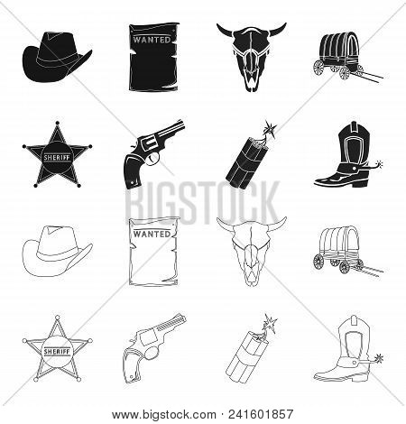 Star Sheriff, Colt, Dynamite, Cowboy Boot. Wild West Set Collection Icons In Black, Outline Style Ve