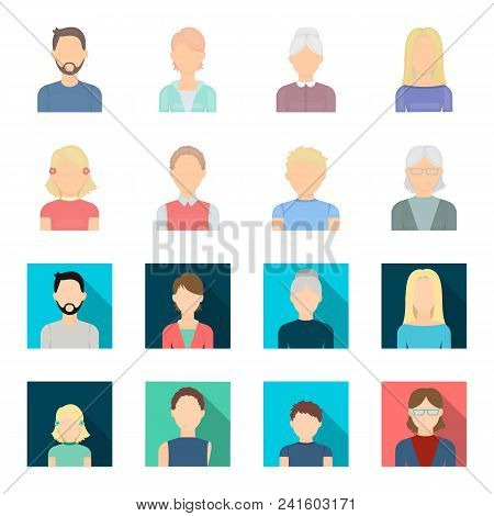 Red-haired Boy, Teen Girl, Grandmother Wearing Glasses.avatar Set Collection Icons In Cartoon, Flat