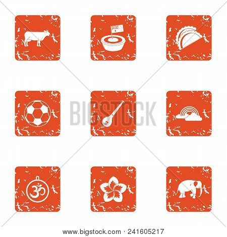 Rehearsal Icons Set. Grunge Set Of 9 Rehearsal Vector Icons For Web Isolated On White Background