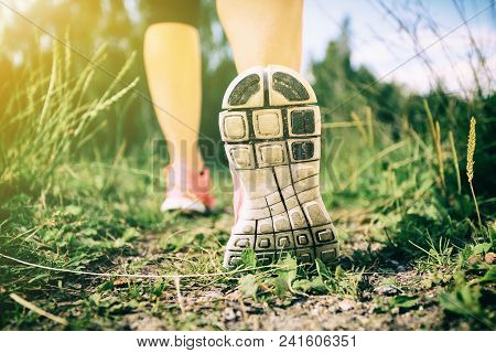 Walking Or Running Exercise, Legs On Footpath In Forest, Achievement Fitness Adventure And Exercisin