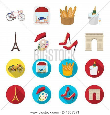 Eiffel Tower, Brush, Hat .france Country Set Collection Icons In Cartoon, Flat Style Vector Symbol S
