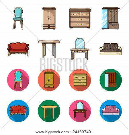 Sofa, Armchair, Table, Mirror .furniture And Home Interiorset Collection Icons In Cartoon, Flat Styl