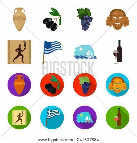 Greece, Running, Wine, Flag .greece Set Collection Icons In Cartoon, Flat Style Vector Symbol Stock