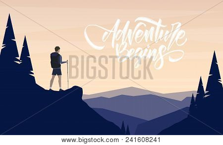 Vector Illustration: Cartoon Flat Landscape With Character Hiker On Foreground And Handwritten Lette