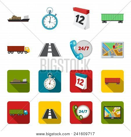 Round The Clock, Road, Truck, Jps.loqistic, Set Collection Icons In Cartoon, Flat Style Vector Symbo