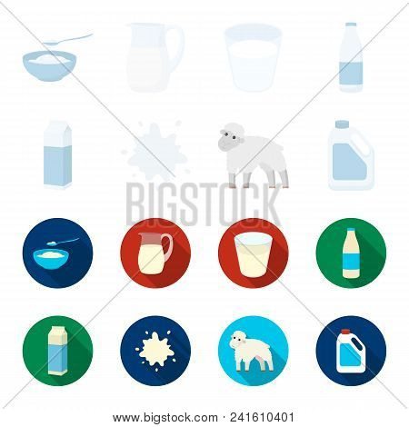 Billet Pack, Sheep.blue, Canister.moloko Set Collection Icons In Cartoon, Flat Style Vector Symbol S