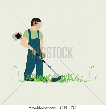 A man with a trimmer cuts grass on a white background. A man in overalls cuts grass with a trimmer. Worker cutting grass in garden with the weed trimmer. poster