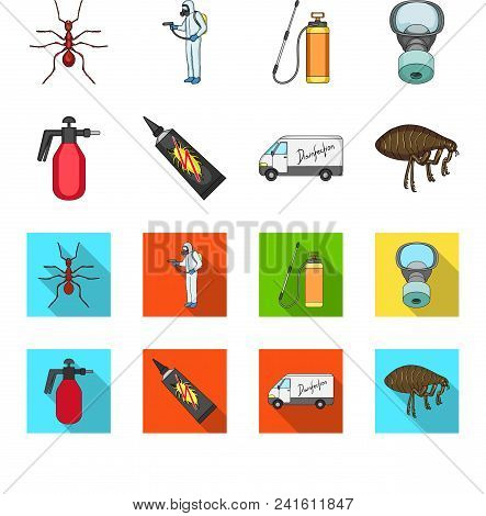 Flea, Special Car And Equipment Cartoon, Flat Icons In Set Collection For Design. Pest Control Servi