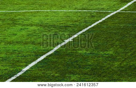 White Lines On The Football Field Before The Championship