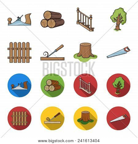 Fence, Chisel, Stump, Hacksaw For Wood. Lumber And Timber Set Collection Icons In Cartoon, Flat Styl